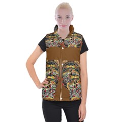 Tattoo Art Print Traditional Artwork Lighthouse Wave Women s Button Up Puffer Vest