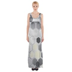 Honeycomb Pattern Maxi Thigh Split Dress