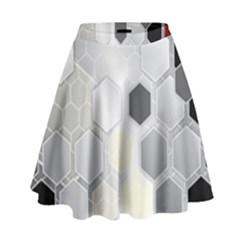 Honeycomb Pattern High Waist Skirt