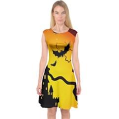 Halloween Night Terrors Capsleeve Midi Dress