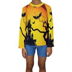 Halloween Night Terrors Kids  Long Sleeve Swimwear
