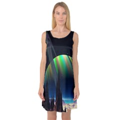 Planets In Space Stars Sleeveless Satin Nightdress