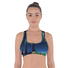 Planets In Space Stars Cross Back Sports Bra
