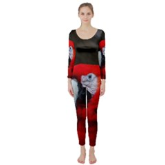 Scarlet Macaw Bird Long Sleeve Catsuit