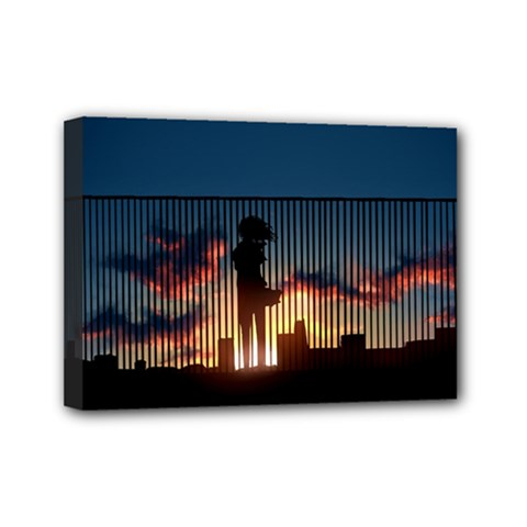 Art Sunset Anime Afternoon Mini Canvas 7  X 5