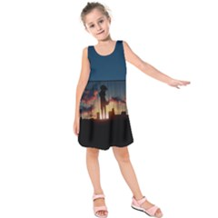Art Sunset Anime Afternoon Kids  Sleeveless Dress