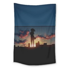 Art Sunset Anime Afternoon Large Tapestry