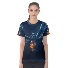 Owl And Fire Ball Women s Cotton Tee