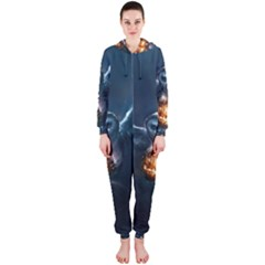 Owl And Fire Ball Hooded Jumpsuit (ladies)