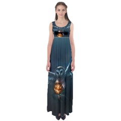Owl And Fire Ball Empire Waist Maxi Dress