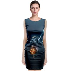 Owl And Fire Ball Classic Sleeveless Midi Dress