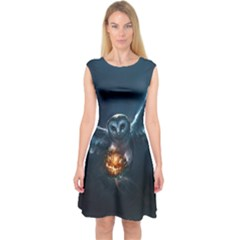 Owl And Fire Ball Capsleeve Midi Dress