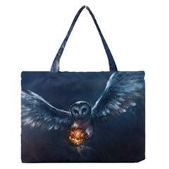 Owl And Fire Ball Medium Zipper Tote Bag