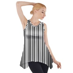 Barcode Pattern Side Drop Tank Tunic