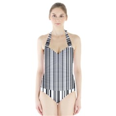 Barcode Pattern Halter Swimsuit