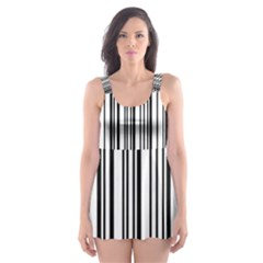 Barcode Pattern Skater Dress Swimsuit
