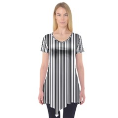 Barcode Pattern Short Sleeve Tunic