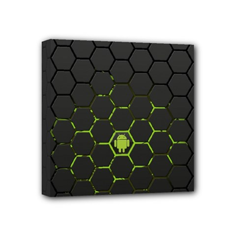 Green Android Honeycomb Gree Mini Canvas 4  X 4
