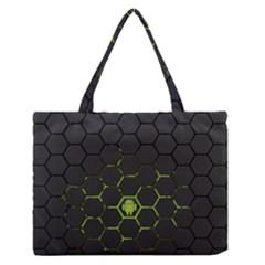 Green Android Honeycomb Gree Medium Zipper Tote Bag