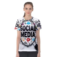 Social Media Computer Internet Typography Text Poster Women s Sport Mesh Tee