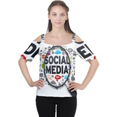 Social Media Computer Internet Typography Text Poster Cutout Shoulder Tee