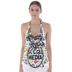 Social Media Computer Internet Typography Text Poster Babydoll Tankini Top