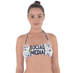 Social Media Computer Internet Typography Text Poster Halter Bandeau Bikini Top by BangZart