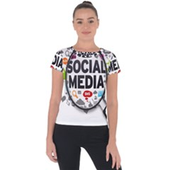 Social Media Computer Internet Typography Text Poster Short Sleeve Sports Top