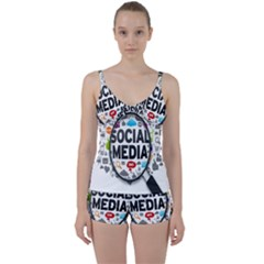 Social Media Computer Internet Typography Text Poster Tie Front Two Piece Tankini