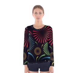 Fireworks With Star Vector Women s Long Sleeve Tee