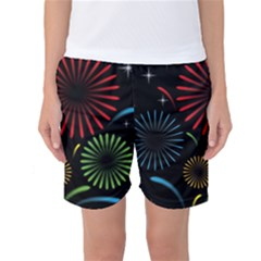 Fireworks With Star Vector Women s Basketball Shorts