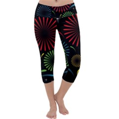 Fireworks With Star Vector Capri Yoga Leggings