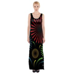 Fireworks With Star Vector Maxi Thigh Split Dress