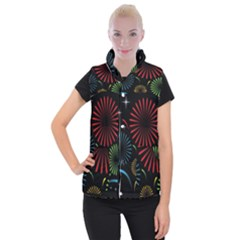Fireworks With Star Vector Women s Button Up Puffer Vest