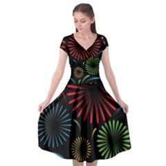 Fireworks With Star Vector Cap Sleeve Wrap Front Dress