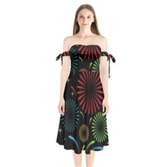 Fireworks With Star Vector Shoulder Tie Bardot Midi Dress