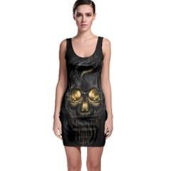 Art Fiction Black Skeletons Skull Smoke Bodycon Dress
