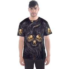Art Fiction Black Skeletons Skull Smoke Men s Sports Mesh Tee