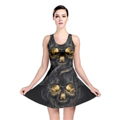 Art Fiction Black Skeletons Skull Smoke Reversible Skater Dress