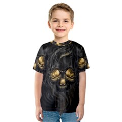 Art Fiction Black Skeletons Skull Smoke Kids  Sport Mesh Tee