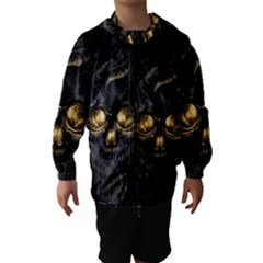 Art Fiction Black Skeletons Skull Smoke Hooded Wind Breaker (kids)