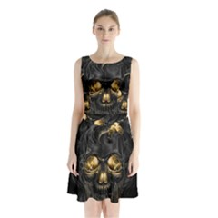 Art Fiction Black Skeletons Skull Smoke Sleeveless Waist Tie Chiffon Dress