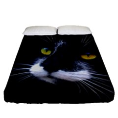 Face Black Cat Fitted Sheet (queen Size)