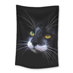 Face Black Cat Small Tapestry by BangZart