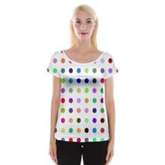 Circle Pattern Cap Sleeve Tops