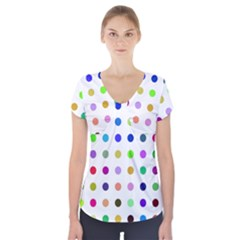 Circle Pattern Short Sleeve Front Detail Top