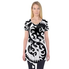 Ying Yang Tattoo Short Sleeve Tunic