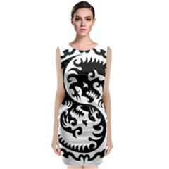 Ying Yang Tattoo Classic Sleeveless Midi Dress