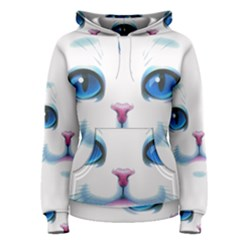 Cute White Cat Blue Eyes Face Women s Pullover Hoodie