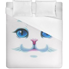 Cute White Cat Blue Eyes Face Duvet Cover (california King Size)